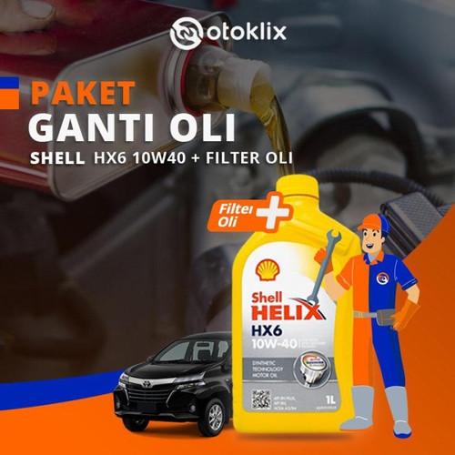Foto Produk Promo Paket Ganti Oli 4L Nissan - Shell HX6 10W40 dari Otoklix