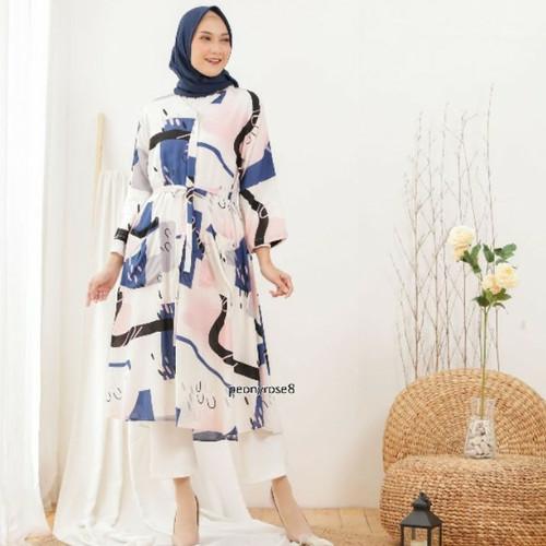 Foto Produk Shaina Dress Abstrak - TUNIK MUSLIM JUMBO WANITA BUMIL BUSUI RAYON dari Peony & Rose