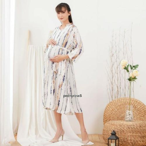 Foto Produk Shaina Dress Stripes-TUNIK MUSLIM JUMBO DRESS WANITA BUMIL BUSUI RAYON dari Peony & Rose