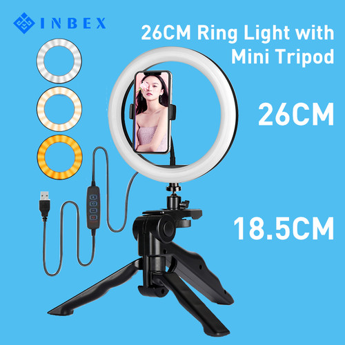 Foto Produk INBEX 26cm Ring Light with 18cm Mini Tripod+Phone Holder for Youtube dari INBEX Official Store