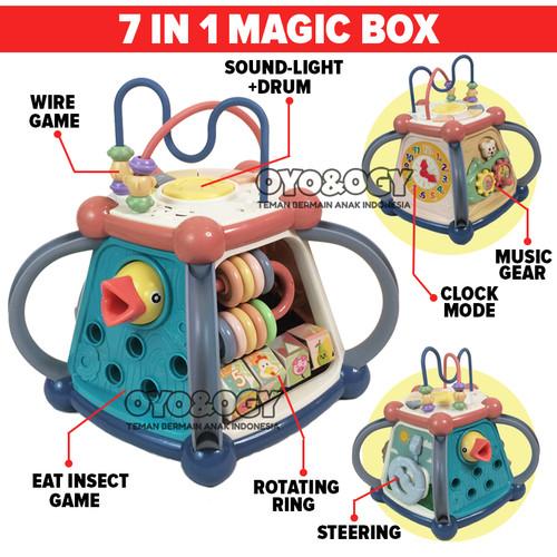 Foto Produk Mainan Edukasi Anak Bayi Balita Magic Box Clock Drum Music 7in1 Game dari oyo-ogy