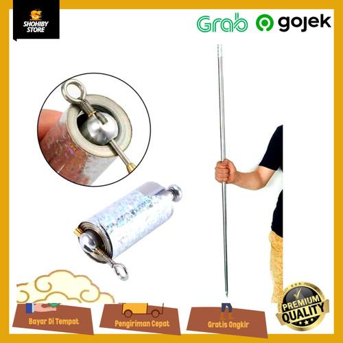 Foto Produk Crazy Cane Metal Magic Pocket Staff Tongkat Ajaib keren bom tongkat - silver dari shohiby store