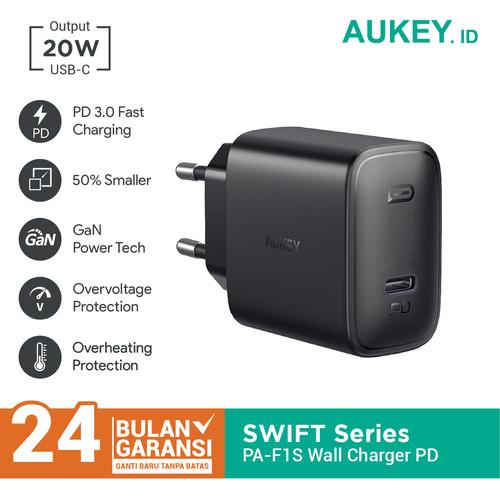 Foto Produk Aukey Wall Charger PA-F1S 20W Ultra Compact with PD 3.0 - 500723 dari Aukey Makassar