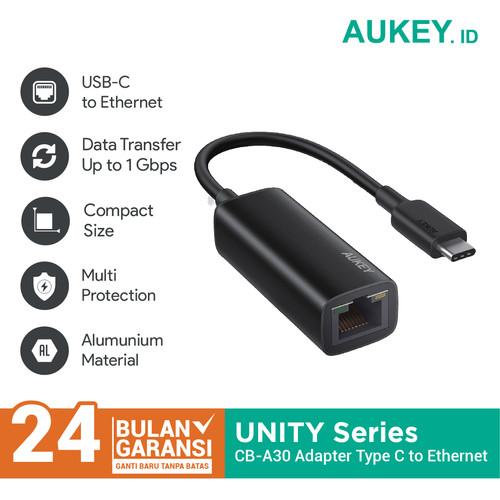 Foto Produk Aukey CB-A30 Type C Adaptor (USB-C to Ethernet Jack) - 500583 dari Aukey Makassar
