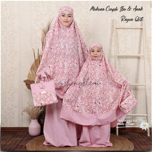 Foto Produk Mukena Couple Ibu dan Anak Katun Sakura Jepang Terbaru - Pink dari Triple-A oshop
