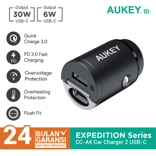 Foto Produk Charger Mobil Aukey CC-A4 2 Port (PD + Quick Charge) - 500593 dari Aukey Makassar