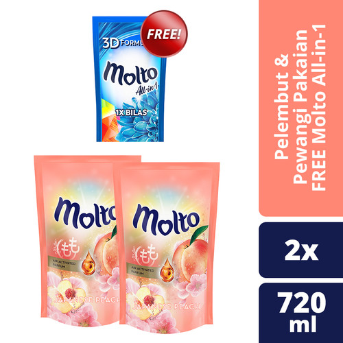 Foto Produk Molto Japanese Peach 720Ml isi 2 free Molto All-In-1 Blue 250ml dari Unilever Official Store