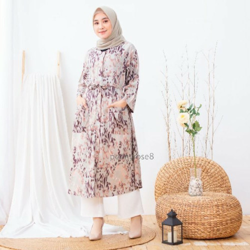 Foto Produk Shaina Dress Leopard - TUNIK MUSLIM JUMBO WANITA BUMIL BUSUI RAYON dari Peony & Rose