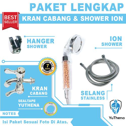 Foto Produk PAKET KOMPLIT super shower ion dan kran cabang SIAP PAKAI murah - Putih dari YuThena Official Store
