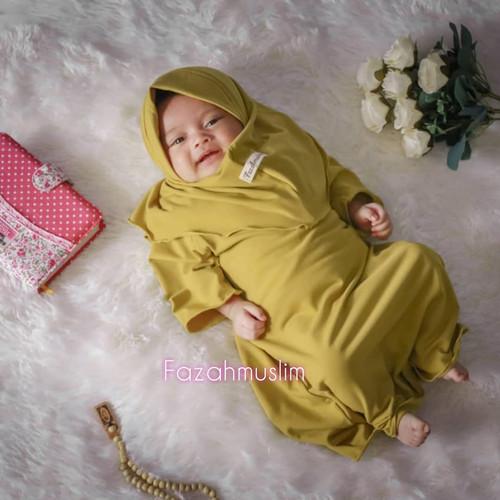 Foto Produk gamis bayi perempuan newborn - NB 0-6 BLN, kuning lime dari FAZAHMUSLIM