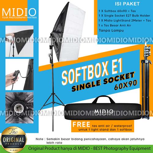 Foto Produk Paket Softbox Midio E1 Softbox 60x90 + Stand 2M Lampu Vlog Youtuber dari Midio