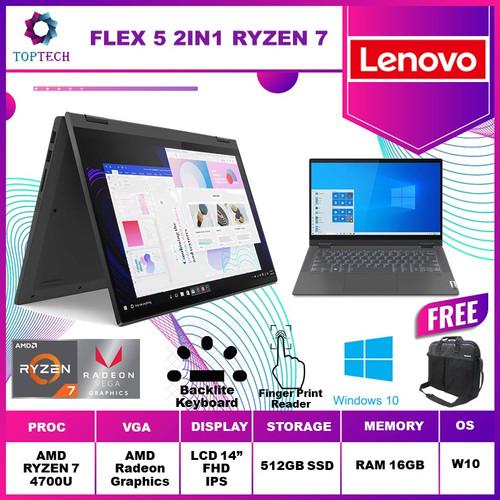 Foto Produk Lenovo Flex 5 Touch Ryzen 7 4700U 16GB 512ssd Vega7 W10 14.0FHD - GRAY dari Top Tech