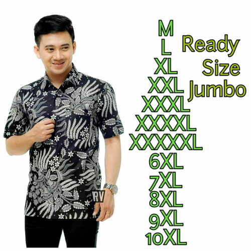 Foto Produk Kemeja Batik Lengan Pendek | Baju Batik Pria | Batik size jumbo - Abu-abu, XL dari batik syafira jaya
