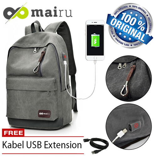 Foto Produk Mairu Tas Ransel Pria Wanita Laptop Sekolah Backpack Kanvas Travel USB - Hitam dari TokoUsbcom