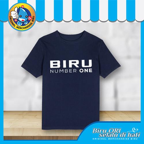 Foto Produk Baju Kaos Atasan T-Shirt Cowok Distro Fashion Pria BIRU NUMBER ONE - M dari Air Minum Biru
