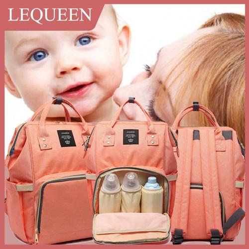 Foto Produk Tas Ransel Backpack Diaper Lequeen Tas Bayi Bag Kompartment Besar - Hitam dari TokoUsbcom