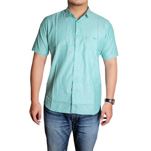 Foto Produk Baju Kemeja Pria Lengan Pendek Jumbo Polos Slim fit Putih Size M-XXXL - Tosca, XL dari Honopo_Store