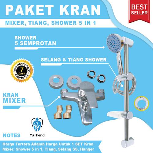 Foto Produk Kran Air Panas Dingin dan Tiang Shower 5 Semburan Paket YuThena dari YuThena Official Store