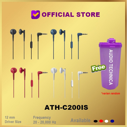 Foto Produk Audio Technica ATH-C200iS In-ear Headphones Earphone C200 IS C200IS - Hitam dari DUNIA COMPUTER & SERVICE