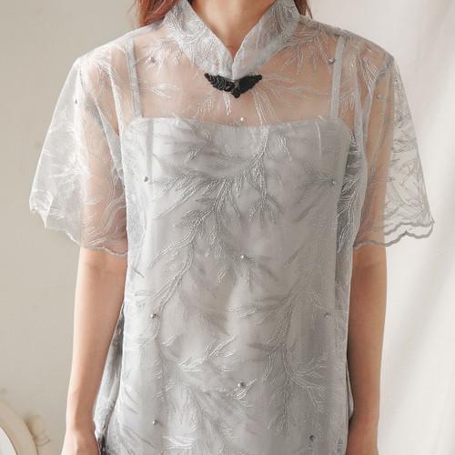 Foto Produk Jia Cheongsam Top - CNY Imlek - Grey dari Less for More