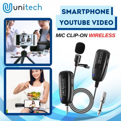Foto Produk Microphone Mic Clip On Wireless 2.4G Unitech G18 PRANK VLOG Smartphone dari TokoUsbcom