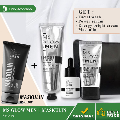 Foto Produk Paket MS Glow Men Basic Ms Glow For Men Original BPOM Free Pouch - Basic +Maskulin dari DuniaKecantikan