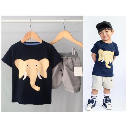 Foto Produk Setelan anak cowo biru navy gajahh size 1,2,3tahun murah - size 1 dari baby smile