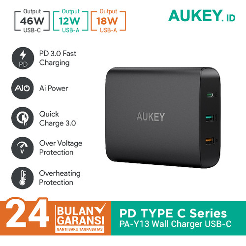 Foto Produk Aukey Charger 74.5W with PD 3.0, Quick Charge 3.0 & Aipower - 500303 dari AUKEY