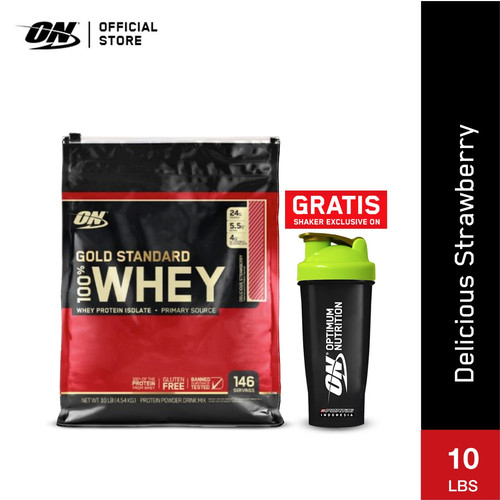 Foto Produk Optimum Nutrition 100% Gold Standard Whey 10Lbs Delicious Strawberry dari Body and Fit