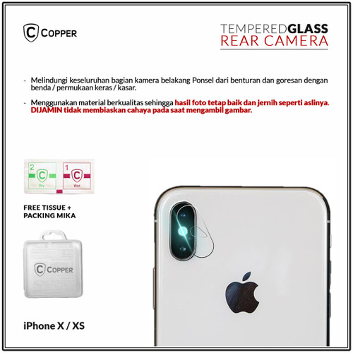 Foto Produk Iphone X - Copper Tempered Glass Kamera dari Copper Indonesia