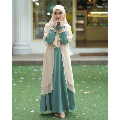 Foto Produk Baju gamis wanita terbaru syari busana muslim remaja rahma dress - Merah, M dari Erliena Official