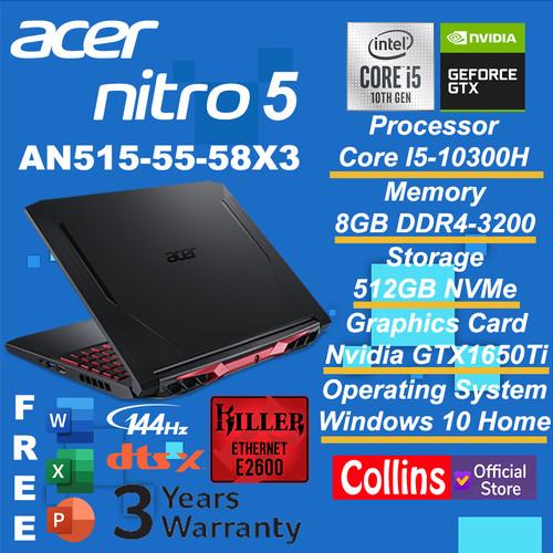 Foto Produk ACER PREDATOR NITRO 5 AN515-55 i5-10300H 8GB 512GB GTX1650Ti 4GB 144Hz dari Collins Official