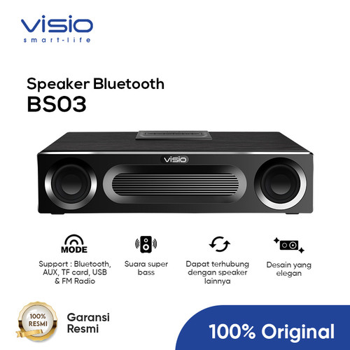 Foto Produk Visio BS03 Wooden Wireless Speaker Bass Stereo AUX Bluetooth - Hitam dari Strawberry Official