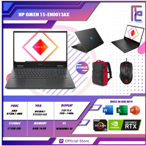 Foto Produk HP Omen 15-en0013AX Ryzen 7 4800H 16GB 512GB-SSD RTX2060 6GB 144HZ dari EnVicStore