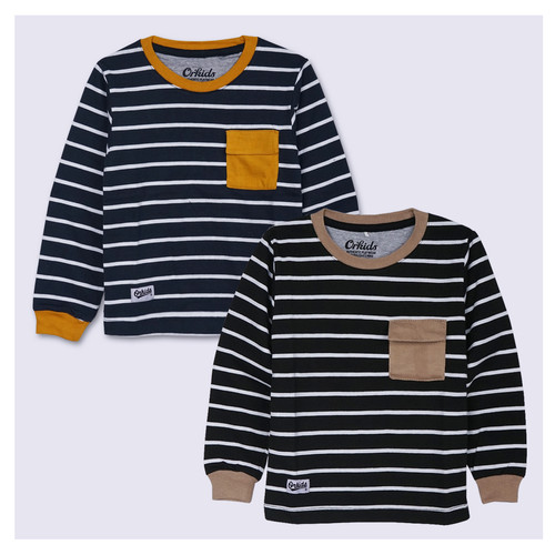 Foto Produk ORKIDS Baju Kaos Anak Laki Laki Lengan Panjang Salur Watzp - NAVY WHITE, XS dari ORKIDS