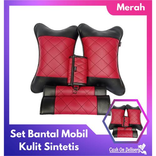 Foto Produk Set Bantal Mobil 3 in 1 - Merah dari Khansa Gems