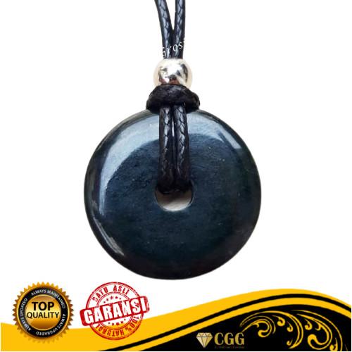 Foto Produk LIONTIN KOIN BATU GIOK HITAM BLACK JADE ASLI NATURAL PLUS KALUNG dari Central Grosir Gemstone