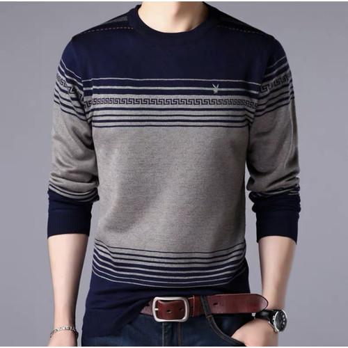 Foto Produk Baju Kaos Lengan Panjang Pria Atasan Cowok Pam Fashion Motif Kekinian - Navy abu dari queenlabel
