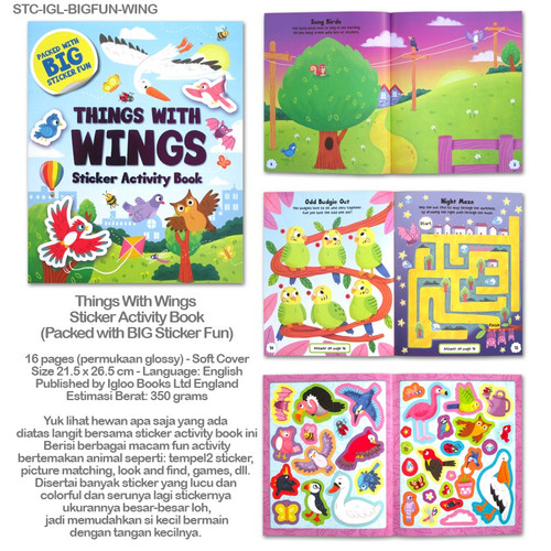 Foto Produk Sticker Activity Book with Big Stickers On the Farm Under Sea Jungle - Things w Wings dari Thevringe