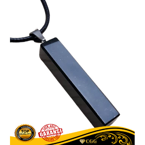 Foto Produk Kalung Plus Liontin Batu Natural Black Jade Giok Hitam dari Central Grosir Gemstone