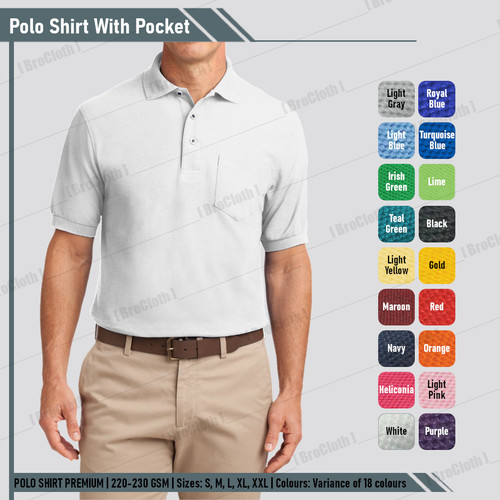 Foto Produk Kaos Kerah Polo T Shirt Casual Pria Putih Polos Good Quality - White, S dari BroCloth
