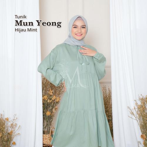 Foto Produk Melika Long Daster / Tunik Polos Mun Yeong Hijau Mint dari Melika Clothing