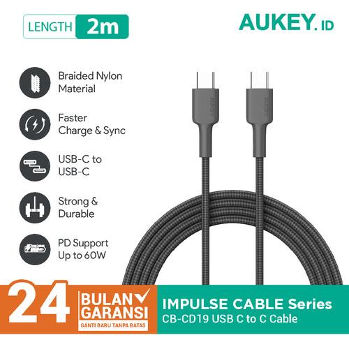 Foto Produk Aukey Cable CB-CD19 Braided C to C 2M Black - 500428 dari AUKEY