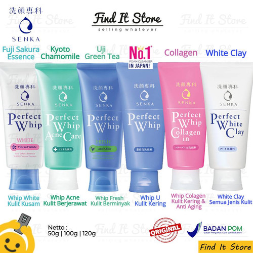 Foto Produk Senka Perfect Whip Clay White Collagen Acne Care Fresh 50g 100g 120g - WhipFresh, 50g dari Find It Store