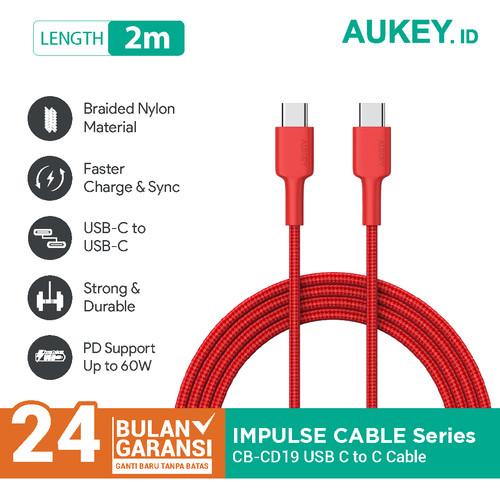Foto Produk Aukey Cable CB-CD19 Braided C to C 2M Red - 500429 dari AUKEY