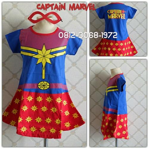 Foto Produk Baju Dress Kostum Karakter Superhero Girl CAPTAIN MARVEL 3-9 Tahun - Lokal Dress, 4 dari Bebagus
