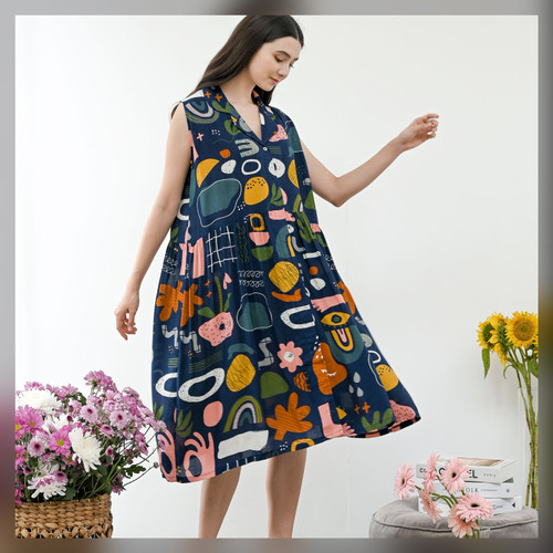 Foto Produk Maja Nightdress - Piyama / Daster Rayon Premium by RAHA Sleepwear dari Raha Sleepwear