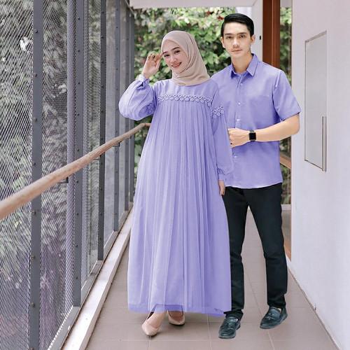 Foto Produk Nuraini Couple l Baju Gamis Maxy Brukat Muslim Kondangan Couple Terlar - Lavender dari zam collection