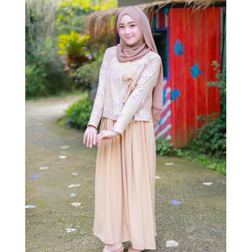 Foto Produk Hanbok Cherry Blossom Maxidress by Dresssofia - Hazelnut Almond, S dari DRESSSOFIA