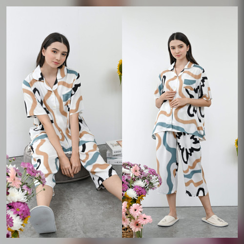 Foto Produk Kalla Set in Summer - Sleepwear / Piyama Baju Tidur Rayon RAHA dari Raha Sleepwear